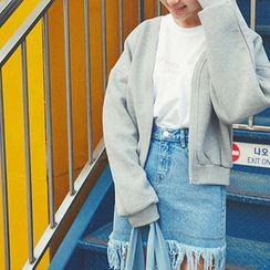 chuu - Open-Front Cotton Cardigan