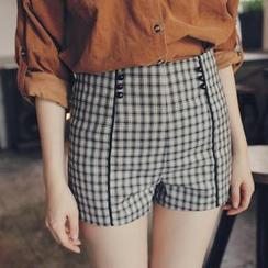 東京著衣 - 高腰滾邊格紋短褲