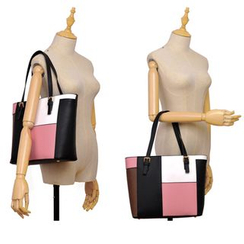 BeiBaoBao - Faux-Leather Color-Block Tote