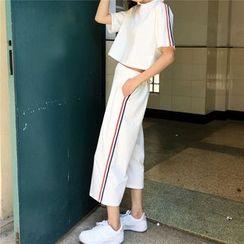 Tiny Times - 套装: 条纹边中袖T恤 + 宽腿裤