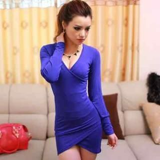 Miss Aries - Long-Sleeve Wrap-Front Bodycon Dress