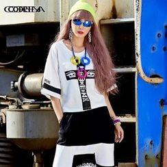 Cooreena - Elbow-Sleeve Printed T-Shirt