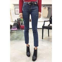 OZNARA - Distressed Straight-Cut Jeans