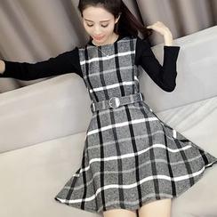 Oaksa - 套裝: 格紋背帶連衣裙 + 長袖上衣