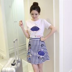 OGAWA - Set: Short-Sleeve Print T-Shirt + Striped A-line Skirt
