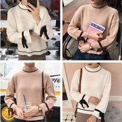 QZ Lady - Contrast Trim Tie Cuff Sweater