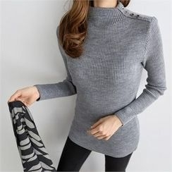 PIPPIN - Buttoned Mock-Neck Ribbed Knit Top
