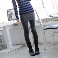 GLAM12 - Inset Brushed Fleece Lined Skirt Leggings
