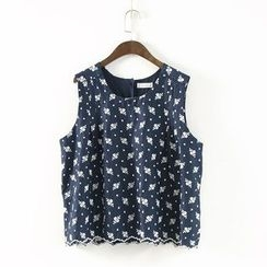 Ranche - Flower Embroidered Button Down Back Tank Top