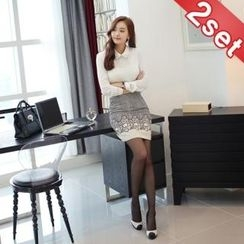Styleberry - Set: Lace-Panel Blouse + Patterned Pencil Skirt