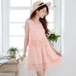 Tokyo Fashion - Layered Cutout Chiffon Sleeveless Dress