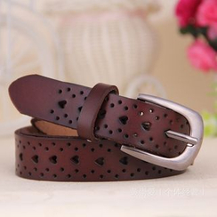 LONGMA - Heart Pointelle Genuine Leather Belt