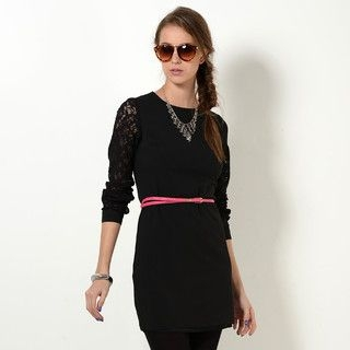 YesStyle Z - Lace-Sleeve Shift Dress with Belt