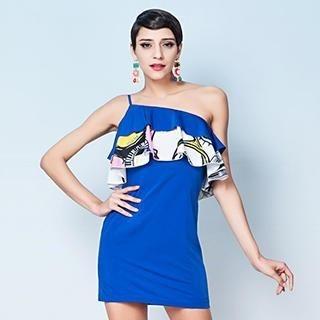 YiGelila - One-Shoulder Ruffle Sheath Dress