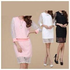 草莓花朵 - 套装:七分袖蕾丝套衫+蕾丝铅笔裙