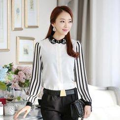 AiSun - Embellished-Collar Striped-Panel Chiffon Blouse