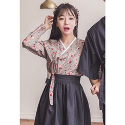 Dalkong - Set: Floral Print Hanbok Top + Skirt