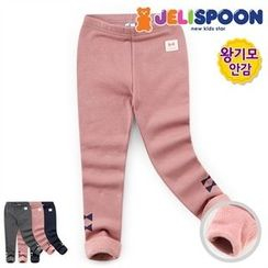 JELISPOON - Girls Ribbon Print Fleece-Lined Leggings