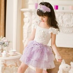 Candy Rain - Kids Bow Waist Sheer Panel Skirt