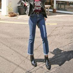 PPGIRL - Washed Frey-Hem Jeans