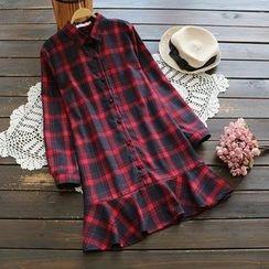 YOYO - 荷葉格子襯衫連衣裙