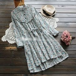 YOYO - Long-Sleeve Frilled Flower Dress