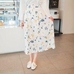 Cherryville - Floral Pattern A-Line Long Skirt