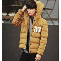 Fisen - Number Print Hooded Padded Jacket