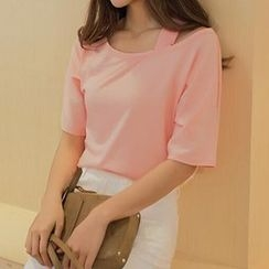 Ashlee - Cutout Shoulder Elbow-Sleeve T-shirt