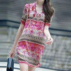 Queen Mulock - Short-Sleeve Sequined Printed Dress