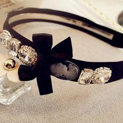 Queen Shine - 蝴蝶結裝飾水鑽頭箍