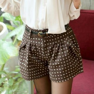 Tokyo Fashion - Bow-Accent Dotted Shorts with Belt