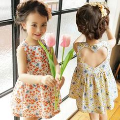 Cuckoo - Kids Cutout Back Floral Print Sleeveless Dress