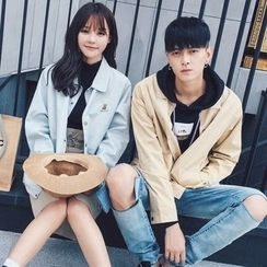 FULLHOPE - Couple Matching Embroidery Button Jacket