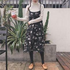ALIN STYLE - Floral Print Spaghetti Strap Chiffon Dress