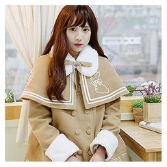 Sechuna - Set: Faux-Fur Collar Coat + Embroidered Cape