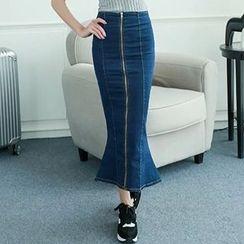 BOHIN - Zip-Front Denim Maxi Mermaid Skirt