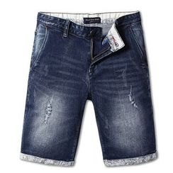 WOOD SOON - Patterened Roll Up Hem Denim Shorts