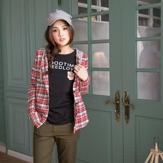 RingBear - Hooded Plaid Blouse