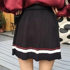 Cloud Nine - Pleated Stripe A-line Knit Skirt
