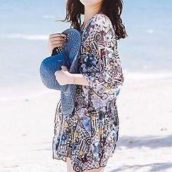 小桃泳衣 - 套裝: 花紋比基尼泳裝 + 外罩衫