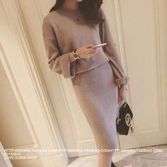QZ Lady - Set: Knit Pullover + Midi Knit Skirt