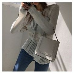 trendedge - Sheer Long Sleeve Knit Top