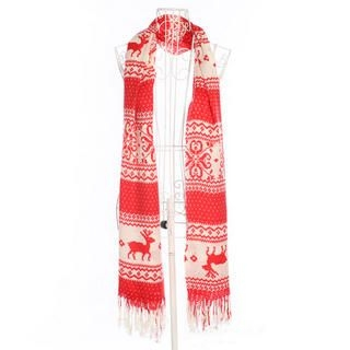 Ando Store - Fringed Nordic-Pattern Scarf