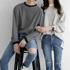 Seoul Homme - Couple Long-Sleeve Striped T-Shirt
