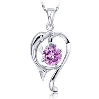 BELEC - 925 Sterling Silver Dolphin Pendant with Purple Cubic Zircon and 40cm Necklace
