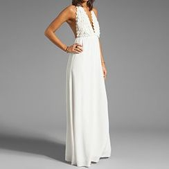 Sunset Hours - Crochet Panel Chiffon Maxi Dress