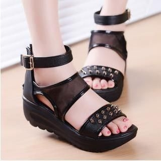 Amy Shoes - Studded Mesh Ankle Strap Wedge Sandals