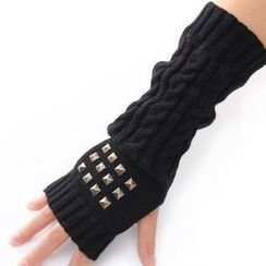 Nirvana Nation - Studded Fingerless Long Gloves