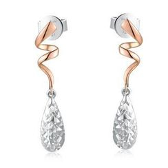 MaBelle - 14K Bicolor Rose White Gold Swirling Dangle Teardrop with Diamond-Cut Earrings
